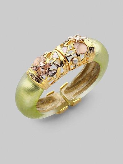 Alexis Bittar Secret Garden Hinge Bracelet/Pale Olive