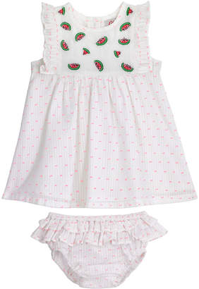 Cath Kidston Baby Embroidered Dress With Frill And Brief