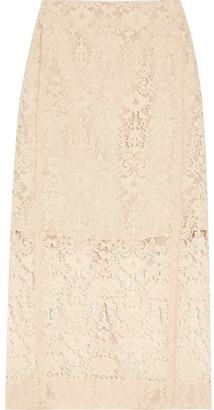 DKNY - Flocked Lace Pencil Skirt - Cream $500 thestylecure.com
