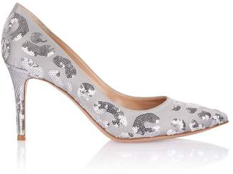 Gianvito Rossi Silver Satin Pump With Sequin Detail