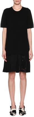 No.21 No. 21 Pleated Lace Hem Short-Sleeve Crewneck Wool Dress