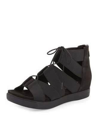 Eileen Fisher Link Lace-Up Sneaker Sandal, Black $198 thestylecure.com