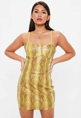 Missguided Yellow Faux Leather Snake Print Bodycon Dress