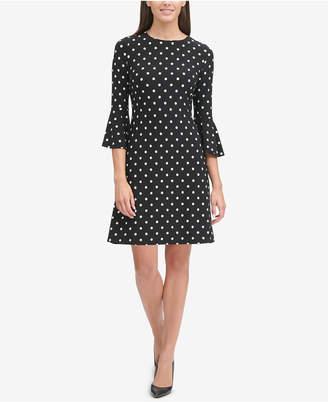 Tommy Hilfiger Polka Dot Bell-Sleeve Dress