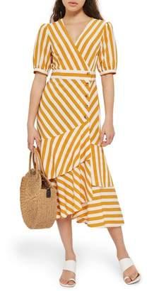 Topshop Cutabout Stripe Ruffle Midi Dress