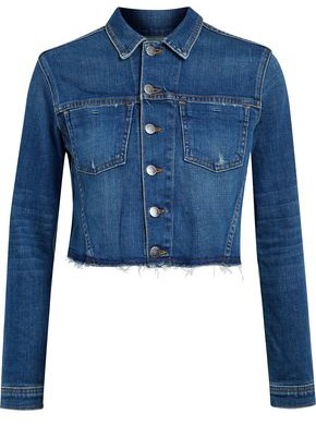 L'Agence Zuma Cropped Studded Denim Jacket