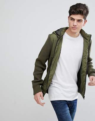 MANGO Man Puffer Jacket With Knitted Sleeves In Khaki