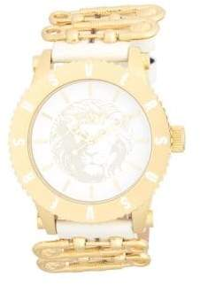 Versace Stainless Steel Leather Strap Analog Strap