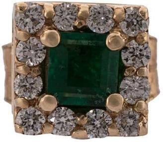 Alison Lou 14kt yellow gold, green emerald and diamond stud