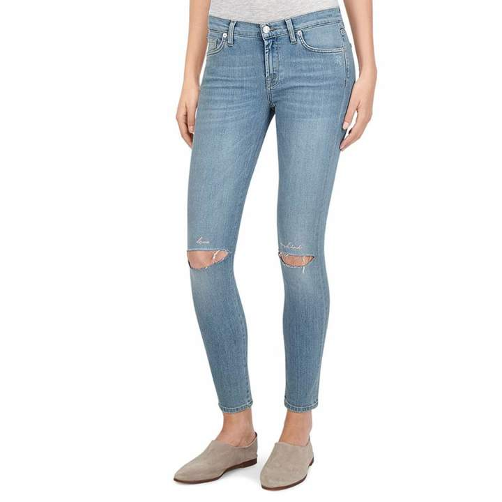 Blue Distressed The Skinny Crop Stretch Jeans
