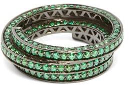 Lynn Ban - 3d Sonic Lab Sapphire & Rhodium Plated Ring - Womens - Green