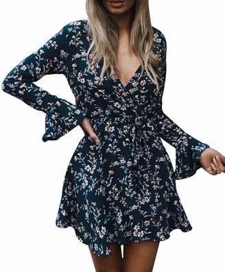 LUKYCILD Women Long Sleeve V Neck Floral Print Short Dress Ruffle Sleeve Above Knee DRSS Size S