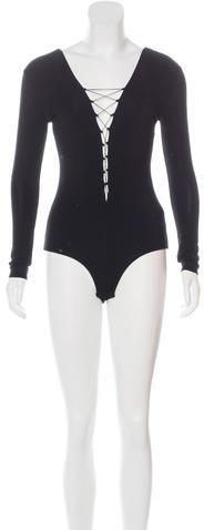 Alexander WangT by Alexander Wang Lace-Up Long Sleeve Bodysuit