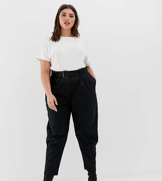 Asos DESIGN Curve belted peg pants with tortoiseshell buckle