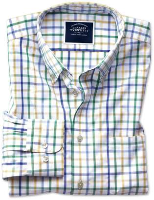 Charles Tyrwhitt Extra Slim Fit Button-Down Non-Iron Poplin Green Multi Check Cotton Casual Shirt Single Cuff Size XXL