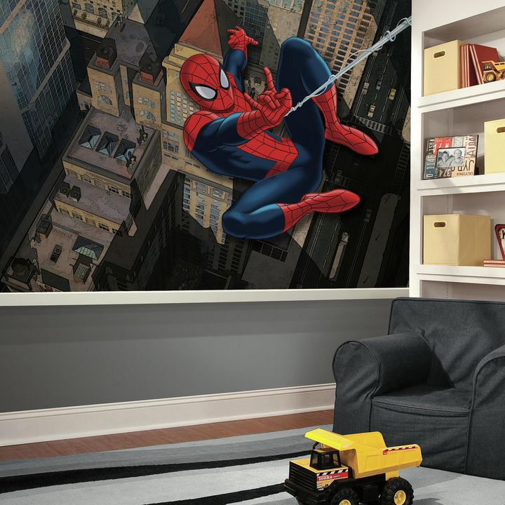 Ultimate Spiderman XL Chair Rail Prepasted 10.5-Foot x 6-Foot Mural