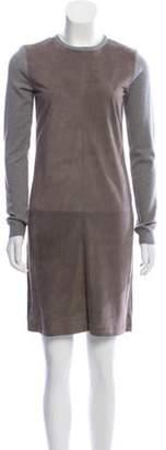 Ralph Lauren Suede-Trimmed Cashmere Dress Grey Suede-Trimmed Cashmere Dress