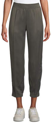 Agnona Tapered-Leg Track Satin Ankle Pants w/ Side Stripes
