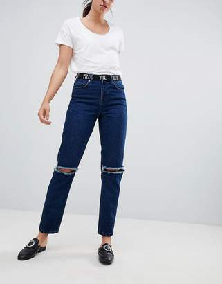 Asos Design Ritson Rigid Mom Jeans With 90s Waistband & Super Ripped Knees