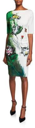 Rickie Freeman For Teri Jon Border-Print Bateau-Neck Elbow-Sleeve Scuba Dress