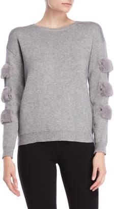 Vila Milano Grey Faux Fur Trim Sweater