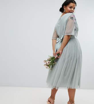 Asos Maya Plus Embellished Tulle Sleeve Midi Tulle Dress