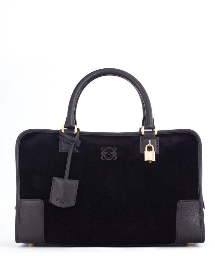 Loewe Amazona Suede & Leather Bag, Black
