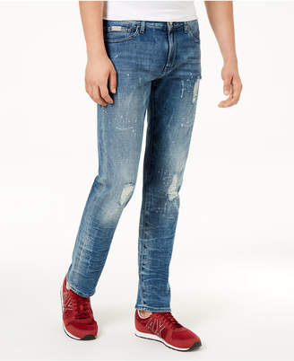 Armani Exchange Men's Distressed Straight Fit Jeans