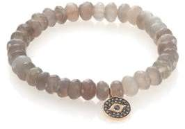 Sydney Evan Diamond, Sapphire, Grey Moonstone& 14K Yellow Gold Evil Eye Beaded Stretch Bracelet