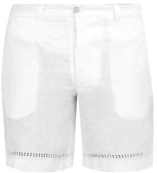 Hecho - Deshilado Mid Rise Linen Shorts - Mens - White