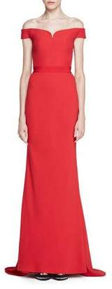 Alexander McQueen Off-Shoulder Crepe Bustier Gown, Red $3,175 thestylecure.com