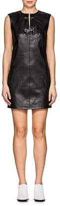 Helmut Lang Women's Safety Pin-Detail Leather Minidress