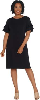 Bob Mackie Bob Mackie's Regular Solid Knit Ruffle Sleeve Dress