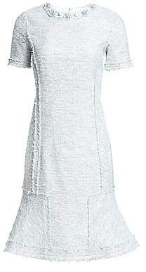 Teri Jon by Rickie Freeman Women's Short Sleeve Embellished Tweed Dress