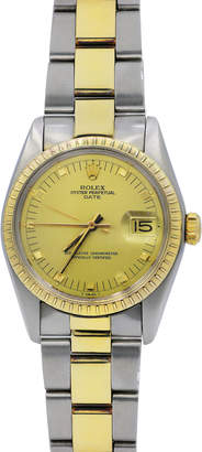 Rolex Pre-Owned 34mm 18k Gold Oyster Automatic Bracelet Watch