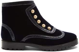 RUE ST. Bateman Street brogue-detail velvet ankle boots