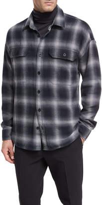 Vince Ombre Buffalo Plaid Cotton Overshirt
