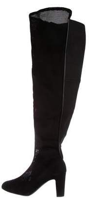 Chanel CC Mesh Over-The-Knee Boots