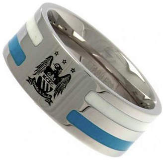 Manchester City Stainless Steel Man City Striped Ring - Size R