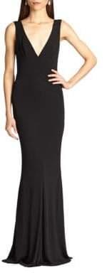 ABS by Allen Schwartz Jersey Deep V-Neck Gown