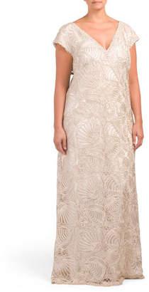Plus Cap Sleeve Floral Lace Gown