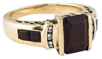 Ring 14K Garnet & Diamond