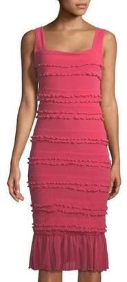 Fuzzi Solid Ruffle-Trim Sleeveless Dress
