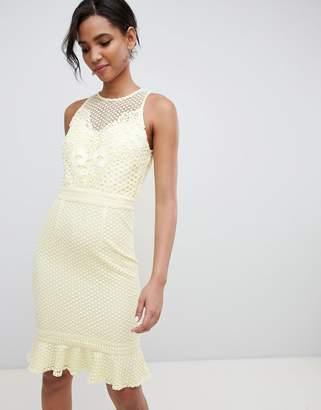 Little Mistress lace applique shift dress with peplum hem in lemon