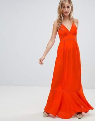 Asos Design DESIGN broderie insert maxi dress