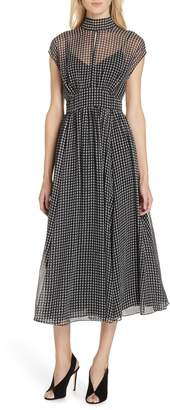 Kate Spade houndstooth chiffon midi dress