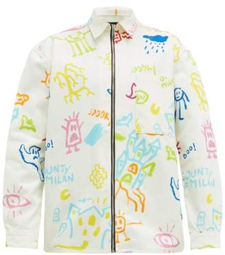 Marcelo Burlon County of Milan Sketches Zipped Denim Jacket - Mens - White Multi