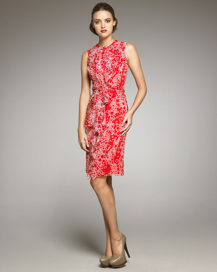 Carolina Herrera Bubble-Print Silk Dress