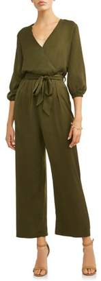 Lucca Couture Women's Amiyah Surplice 3/4 Sleeve Jumpsuit