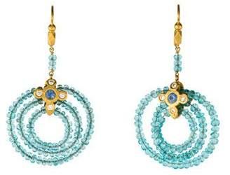 Cathy Waterman 22K Apatite, Sapphire & Diamond Earrings